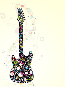 Abstract Colorful Guitar With Musical Notes.