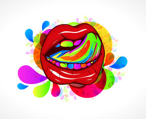 Abstract Colorful Mouth Vector Illustration
