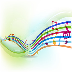 Abstract colorful musical note on waves background.