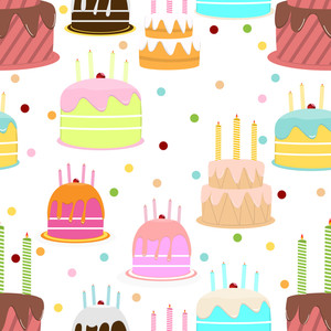 Abstract Colorful Seamless Pattern With Cake. Vector Illustration.