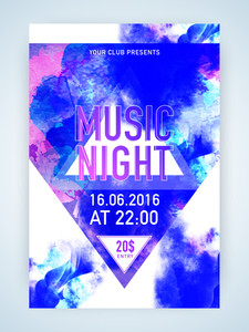 Abstract colorful splash decorated flyer template or banner design for Music Night.