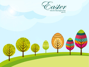 Abstract Colorful Trees Having On Bright Background Related With Easter. Vector.