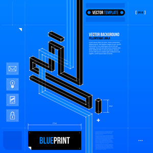 Abstract Composition With Crossing Lines In Blueprint Style. Eps10