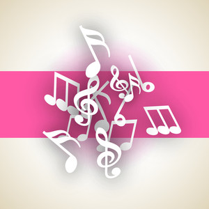 Abstract dancing musical notes on pink background