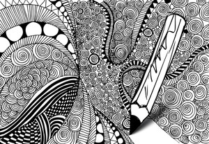 Abstract Design Drawing Made By Pencil. Vector Background