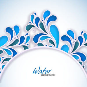 Abstract Drops Background In Blue With Floral Design And Space For Your Text. Can Be Use As Flyer