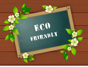 Abstract Eco Friendly Poster Decorated With Green Leaves On Wooden Background