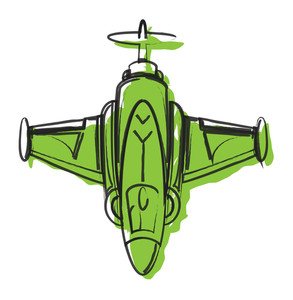 Abstract Fighter Plane Vector Drawing