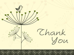 Abstract Floral Background With Thankyou Text And Bird