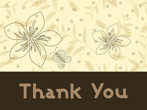 Abstract Floral Background With Thankyou Text And Leaf