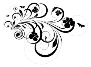 Abstract Floral Design Elements Silhouette