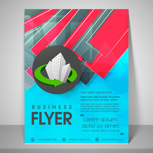 Abstract flyer design for business with complex images address bar