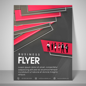 Abstract flyer design for business with image of boys and girls address bar