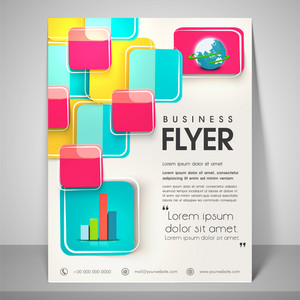 Abstract flyer design for business with image of globe address bar