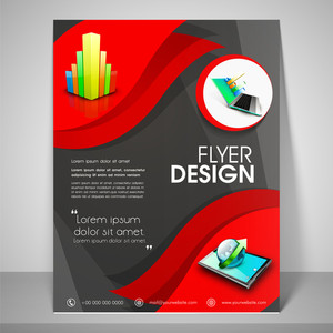 Abstract flyer design for business with images of laptop globe