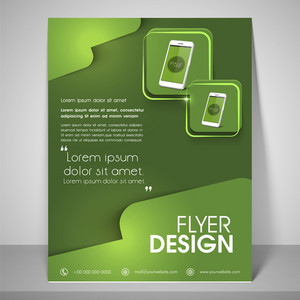 Abstract flyer design for business with mobile images address bar
