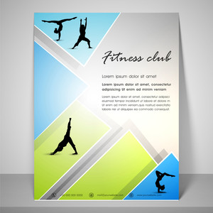 Abstract flyer design for fitness club with dancing silhouette address bar