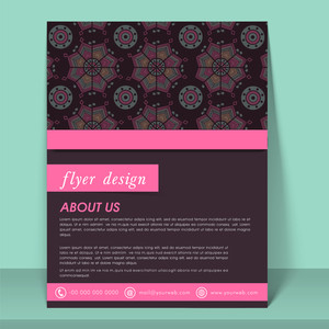 Abstract flyer template or brochure design decorated with traditional floral pattern.