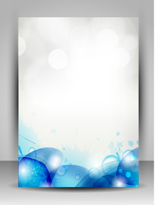 Abstract Flyer With Blue Waves And Water Drops.