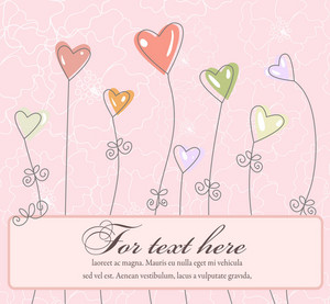 Abstract Frame With Hearts Vector Illustration