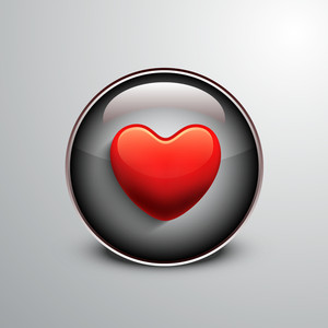 Abstract Glossy Heart Icon On Grey Background