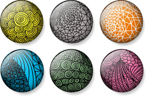 Abstract Glossy Round Vector Buttons