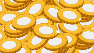 Abstract Gold Coins Pattern Background