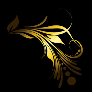 Abstract Golden Floral Design Element