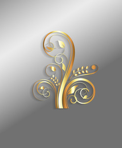 Abstract Golden Ornate Floral Design