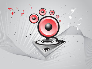 Abstract Gray Music Background With Speakers