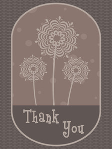 Abstract Green Floral Background With Thankyou Text