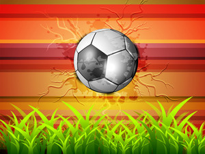 Abstract Green Grass Background With Soccer Football.