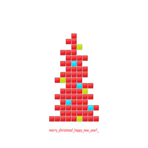 Abstract Greeting Card With Christmas Tree From Glossy Mosaic. Vector