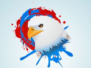 Abstract Grungy Background In American Flag Color For 4th Of July American Independence Day With National Bird Eagle On Grungy Background.