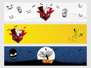 Abstract Halloween Banner Series Set10