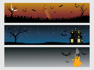 Abstract Halloween Banner Series Set11