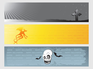 Abstract Halloween Banner Series Set16