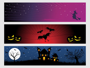 Abstract Halloween Banner Series Set17