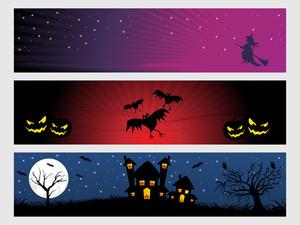 Abstract Halloween Banner Series Set17