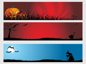 Abstract Halloween Banner Series Set2