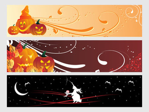 Abstract Halloween Banner Series Set30
