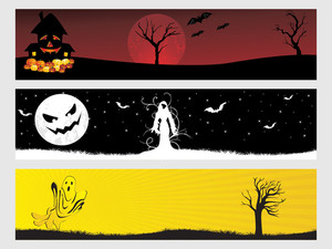 Abstract Halloween Banner Series Set32