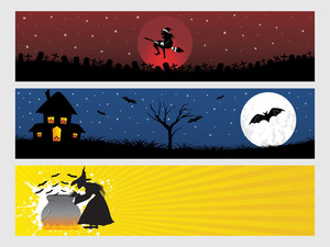 Abstract Halloween Banner Series Set5