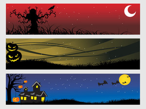 Abstract Halloween Banner Series Set8