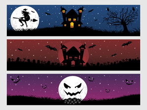 Abstract Halloween Banner Series Set9