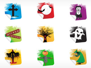Abstract Halloween Sticker Series Set5