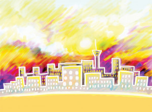 Abstract Hand Drawn City Skyline