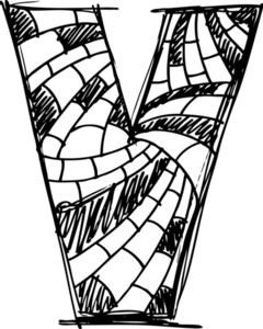 Abstract Hand Drawn Letter