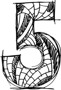 Abstract Hand Drawn Number