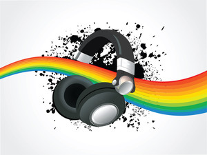 Abstract  Headphone With Rainbow Illusttration